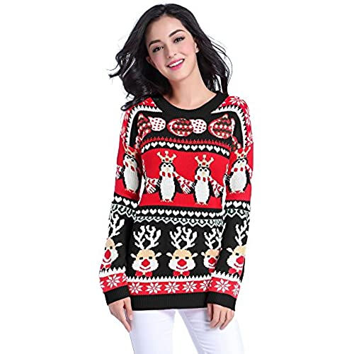 v28 ugly christmas sweater women girl long vintage knit xmas warm pulli sweaterred l