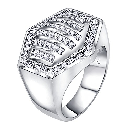 Sterling Manufacturers Mens .925 Sterling Silver Hexagonal Ring Featuring 64 Round and Baguette Cubic Zirconia (CZ) Stones, Platinum Plated Flashy Eye Catching Design.