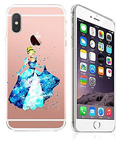 DECO FAIRY Compatible with iPhone XR, Art Paint Master Piece Painting Cartoon Anime Animated Blue Dress Princess Fairy Tale Series Transparent Translucent Flexible Silicone Cover Case