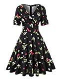 ROOSEY 1950s Vintage Retro V Neck Cherry Pattern Cocktail Prom Dress Women