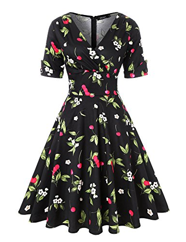 ROOSEY 1950s Vintage Retro V Neck Cherry Pattern Cocktail Prom Dress Women by ROOSEY