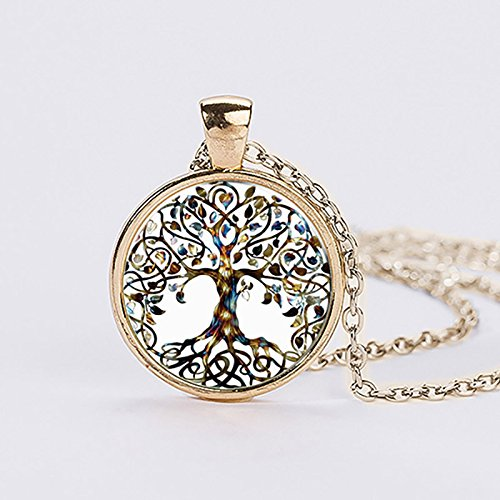 Rurah Fashion Valentine's Day Gift Antique Silver Tone Retro All Kinds of Tree of Life Time Gemstone Necklace Tree Shape Pendant,Gn1 gold Antique Silver Tree Pendant