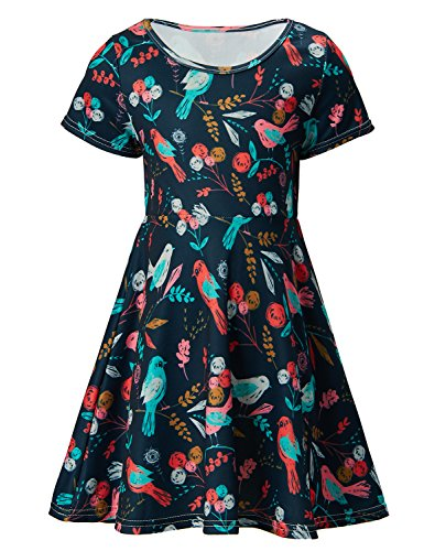 Cute Print Sunmmer Clothes Bird Vintage Dresses for Girls 6-7 Years