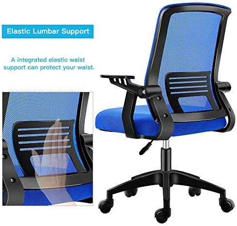 Ergonomic Office Chair, Mesh Computer Desk Chair With Wheels Rolling Chair For Home Office Modern Cheap Comfy Office Chairs With Arms Height Adjustable Back Lumbar Support Blue Task Chair (Blue)