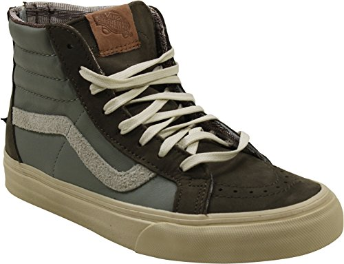 Vans Sk8-Hi Zip Sneakers (Leather/Nubuck/Suede) Brown Womens 6.5 (Sk8 Hi Sneaker)