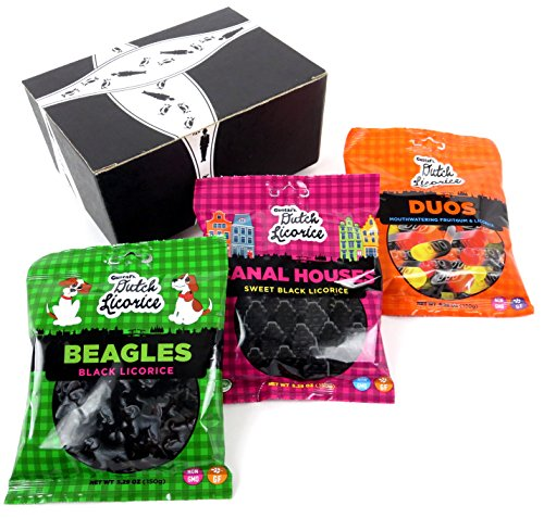 Gustaf's Gluten Free Dutch Black Licorice 3-Flavor Variety: One 5.29 oz Bag Each of Beagles, Canal Houses, and Duos in a BlackTie Box (3 Items -