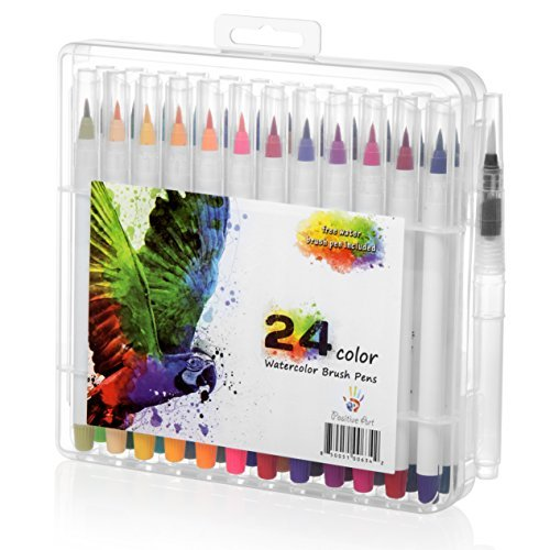 Watercolor Brush Pen 24 Colors By Positive Art: 24 Colors And 1 Free Water Coloring Brush With Flexible Tip For Precision, For Adult Crafts, Manga, Comic, And Calligraphy, Odorless And Non-Toxic