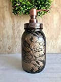 Rustic Painted Quart Glass Jar With Copper Soap Pump Dispenser Lid Farmhouse Bathroom