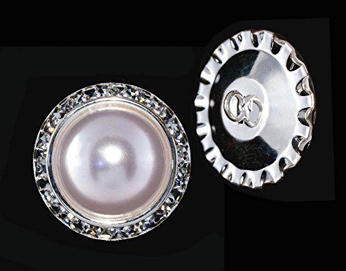 25mm Rondel Button with Imitation Pearl Center - 11789/25mm