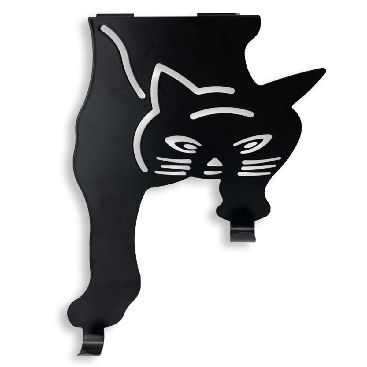 SpaceAuto Heavy Duty Over The Door Hook Cat Double Hanger Organizer Storage Hanging Rack Black (A - Pack of 1)