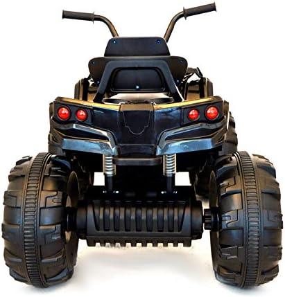 RIRICAR Quad Hero 12V, Noir, Roues en EVA Souples, Télécommande 2,4 GHz, siège en Cuir, suspensions, Batterie 12V7Ah