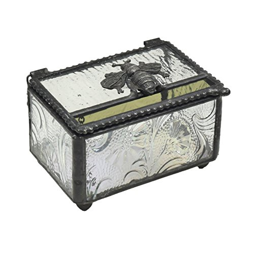 J Devlin Box 753 Glass Keepsake Box with Bumble Bee Accent Nature Inspired Design Decorative Gift Jewelry - Inspired Designs Nature