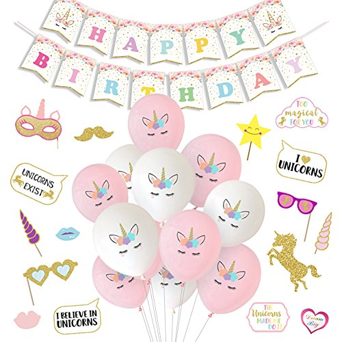 LUCK COLLECTION Unicorn Party Decorations Unicorn Balloons Happy Birthday Banner Photo Booth Props for Girls Birthday Party Supplies by LUCK COLLECTION