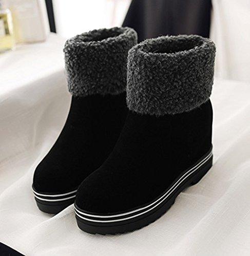 Women's Sfnld Fashion Platform Snow Heighten Toe Striped Black Boots Warm Round Sole S66nZdq