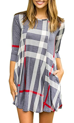 LiMiCao Womens Plaid Print Round Neck 3/4 Sleeves Casual Swing Mini Dress With Pocket (Gray, (F22 Boot)