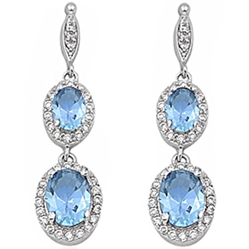 Aquamarine Dangling Earrings (Halo Drop Dangle Chandelier Earring Oval Simulated Blue Aquamarine Round Cubic Zirconia 925 Sterling Silver)