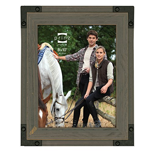 Prinz Brody Distressed Wood Frame with Faux Metal Corners, 8 by 10-Inch, Natural - Distressed Natural