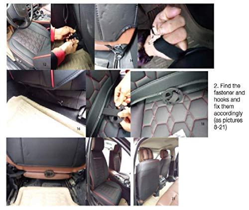 2x Vordere Sitzbez/üge Schwarz mit Roter Naht Elegant Auto Schonbez/üge Kunstleder Hochwertig Komfort Neu PKW