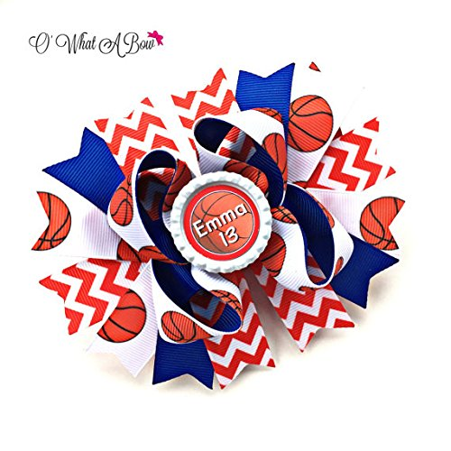 Basketball Hair Bow for Girls Personalized Sports Team Bow