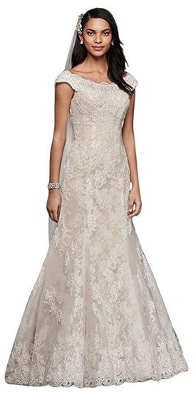 8c4d2f565f2 Oleg Cassini Off The Shoulder Lace Wedding Dress Style CWG533