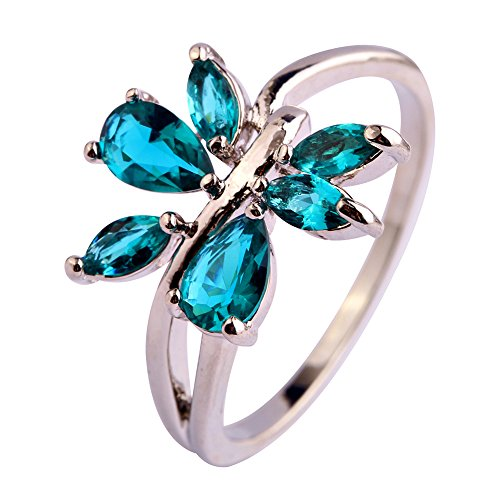 Emsione Created Emerald Quartz 925 Silver Plated Split Shank Ring for Women