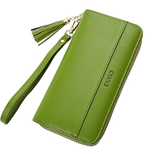 Cyanb Women Wallets Tassel Bifold Ladies Cluth Wristlet Wrist strap Long Purse Grass Green