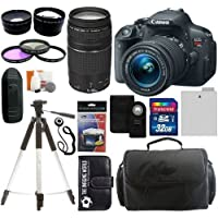 Canon EOS Rebel T5i 18.0 MP Digital Camera SLR Kit With Canon EF-S 18-55mm IS II STM Lens + Canon EF 75-300mm f/4.0-5.6 III Autofocus Lens + 32GB Card and Reader + Wide angle and Telephoto Lenses + Tripod + Battery + Filters + Accessory Kit Benefits Review Image
