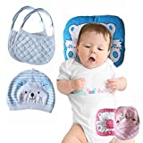 Flat Head Baby Pillow Prevention - VERSATILE & SAFE I 2 BONUS Bibs & 1 BONUS Beanie I Head Shaping & Plagiocephaly I ADJUSTABLE size