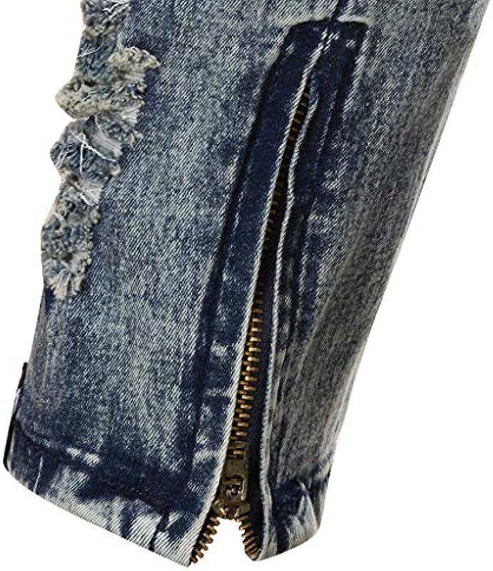 Tomatoa Męskie Mode Causal Pocket Reißverschluss Slim Fit Shredded Denim Long Jeans Hose: Odzież