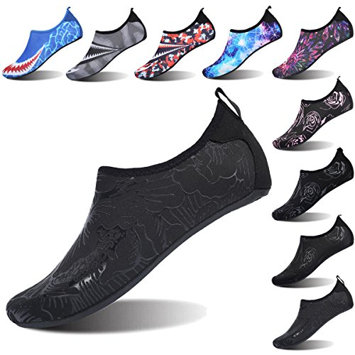 FEETCITY Womens Water Shoes Mens Water Footwear Quick-Dry Water Sports Beach Swim Shoes Leaf Black M(W:7.5-8.5,M:6-7)