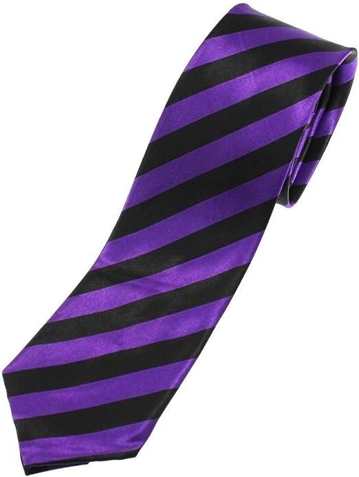 Mytoptrendz® Corbata de rayas estrechas para hombre, color morado ...