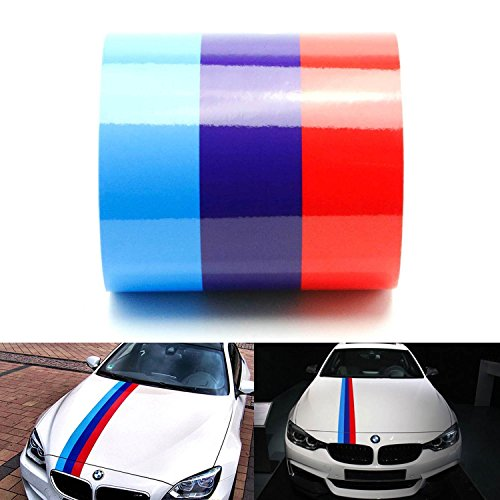 "iJDMTOY (1) 6"" Wide M-Colored Stripe Decal Sticker For BMW Exterior Cosmetic, Such As Hood, Front/Rear Bumpers, Side Fenders, Roof, etc"