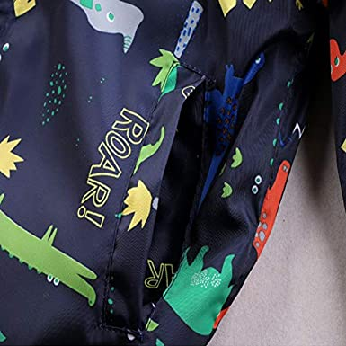 CM-Kid Toddler Boys Clothes Dinosaur Windbreaker Jacket Zip Up for Kids 1 2 3 4 5 6 T