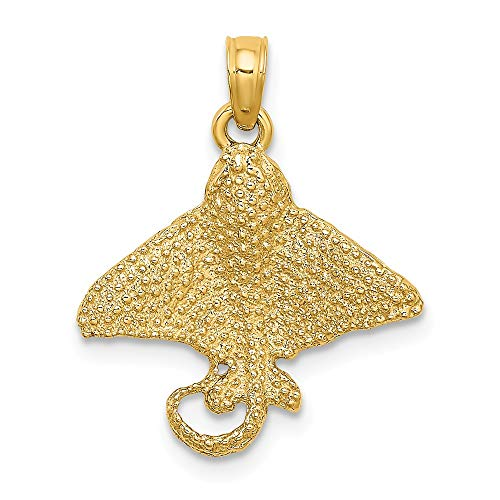 14k Yellow Gold 2-D & Textured Spotted Eagle Ray Charm