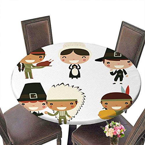 Indoor/Outdoor Spillproof Round Tablecloth,Thanksgiving Kids Cute Native Americans and colonists Wedding Restaurant Party Decoration up to 31.5