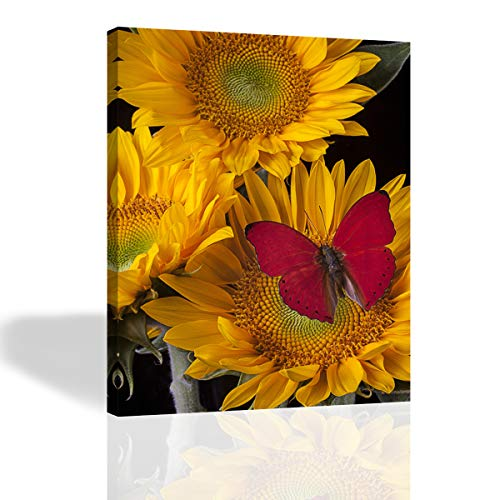 Purple Verbena Art - Framed Yellow Sunflowers with Red Butterfly Prints on Canvas Painting, Modern Giclee Canvas Prints Artwork Abstract Landscape 1 Panel Painting for Home Decor, 12x16 ()
