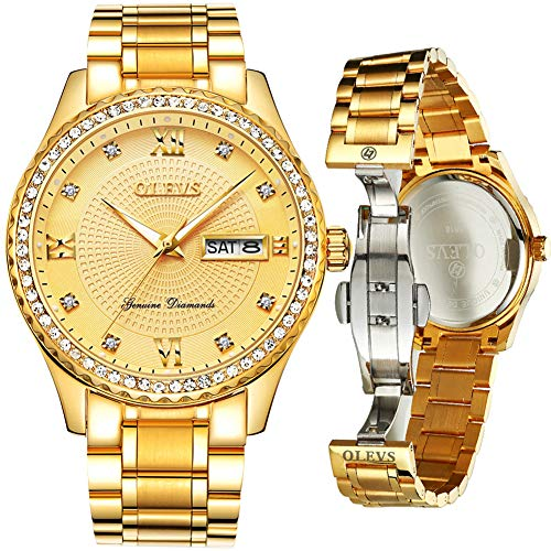 Gold Watches for Men on Sale Clearance,OLEVS Diver Analog Display Swiss Quartz Gold Watch,Day and Date Watches for Men,Big Dial Mens Watches,Men's Stainless Steel Wrist Watch Diamonds for Men