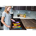 11pc Silicone Kitchen Utensil Set by CuisineFacets Colorful Cooking Utensils with Spatula, Serving Tools, Accessories and FREE Spoon Rest - Heat Resistant Spatulas and Spoons for Non-Stick Cookware 17 ✅11PC incl. FREE SPOON REST: Imagine how many colorful food creations you can now unleash all at once, because your utensil set includes everything! Silicone Wisk, Pastry Brush, 2x Spatulas, Slotted Spoon, Salad Spoon, Food Tong, All-Purpose Spoon, large Ladle, Slotted Turner, and BONUS Spoon Rest. ✅HEAT RESISTANT & EASY TO CLEAN: From the Rainbow Whisk to the Pink Pastry Brush, just pop your silicone kitchen utensils in the dishwasher to clean. Everything is made from FDA Compliant Food Grade Silicone and can withstand temperatures up to 446°F... like steaming hot pasta, pumpkin soup or pancakes. ✅WHAT'S YOUR FAVE? If you're like most people, there are always 1 or 2 kitchen tools you love the most. And if you're like us, it could even be because of color. Either way, our Cheery Utensils Set from CuisineFacets gives you the best of both - your favorite non-stick kitchen utensils, in your favorite colors too.