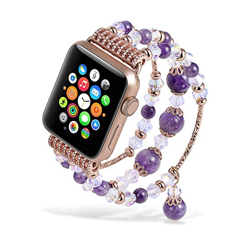 It Bangles Drop (Beaded Apple Watch Band 38 mm Amethyst Rose Gold Cool Breathable iWatch Accessories for Apple Watch All Version Charm Initial Bangle Bracelets for Women)