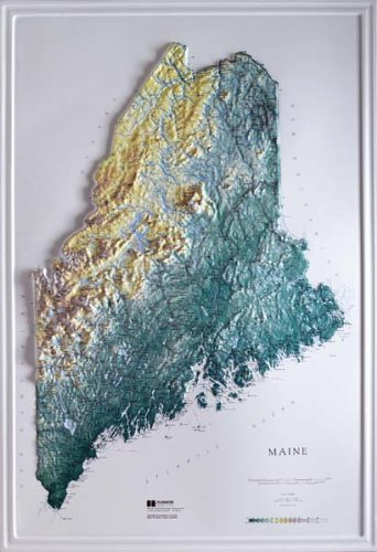 MAINE Raised Relief Map Raven Style with Oak Wood Frame