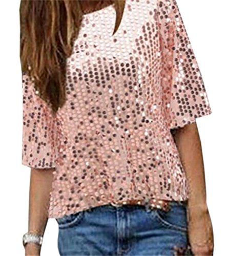 (JXG-Women Fashion 3/4 Sleeve Sequins Glitter T-Shirt Blouse Tops Pink US M)