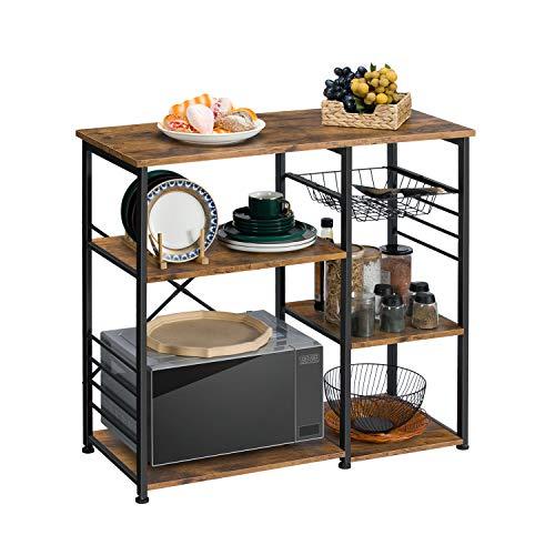 Kicode Bakers Rack, Kitchen Baker\'s Racks with Wire Mesh Storage Shelves,  Kitchen Storage Cabinet, Wood Looks Accent Kitchen Organizer Furniture, ...