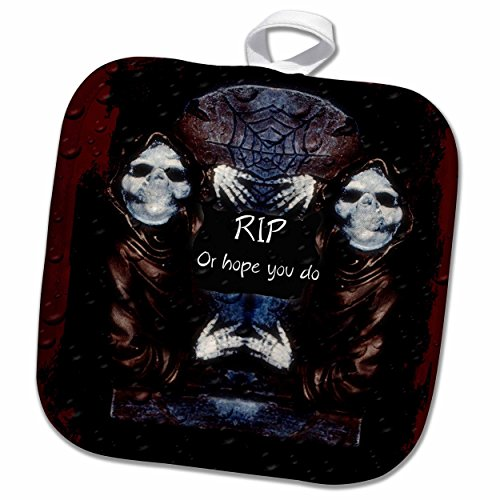 3dRose ET Photography - Halloween Designs - Grim reaper with tombstone and Halloween saying - 8x8 Potholder (phl_162110_1)