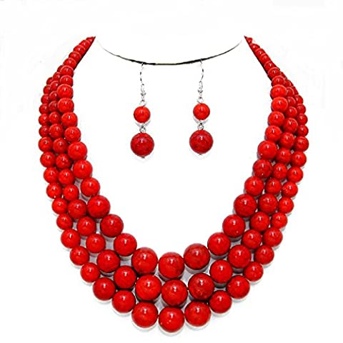 Statement Layered Strands Coral Red Stone-simulated Pearl Beads Necklace Earrings Set Gift Bijoux (Multi Strand Statement Necklace)