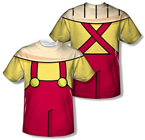 [Family Guy Animated Comedy Series Stewie Costume Front/Back Big Boys 2Side Print] (Stewie Family Guy Costume)