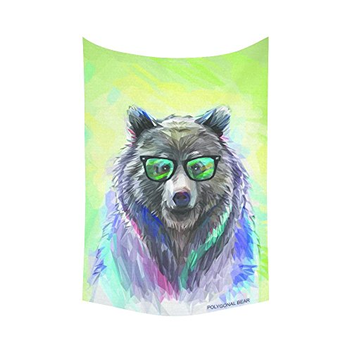 InterestPrint Cool Hipster Animal Wall Art Home Decor, Bear Portrait Cotton Linen Tapestry Wall Hanging Art Sets 60 X 90 Inches