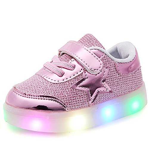 Price comparison product image UBELLA Boy's Girl's Star Casual Strap LED Light Up Shoes Flashing Sneakers (Toddler/Little Kid)