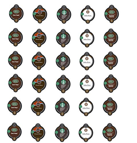 30 Count - Variety Dark Roast Coffee Vue-Cups for Keurig Vue Brewers - Green Mountain Dark Magic, Sumatran, Barista Italian, Tully's French and Starbucks French Roast (5 flavors, 6 vue cups each) (Dark Sumatran Roast)