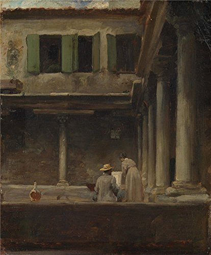 Polyster Canvas ,the High Resolution Art Decorative Canvas Prints Of Oil Painting 'An Artist Sketching In The Cloister Of S. Gregorio Venice Lord Leighton Frederic ', 20 X 24 Inch / 51 X 61 Cm Is Best For Dining Room Decor And Home Gallery Art And Gifts