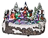LED Lighted Snowy Christmas Village with Animated Skating Rink Holiday Decoration